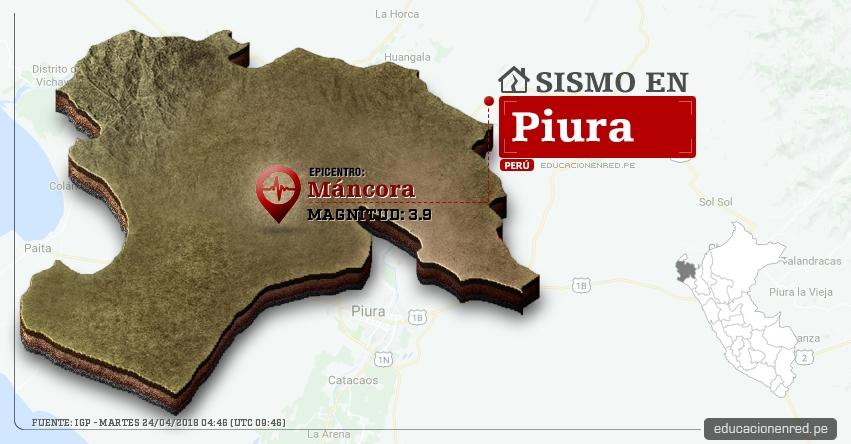 Temblor en Piura de magnitud 3.9 (Hoy Martes 24 Abril 2018) Sismo EPICENTRO Máncora - Talara - IGP - www.igp.gob.pe