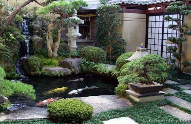 Contoh desain Ttaman minimalis jepang atau taman zen