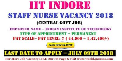 IIT Indore Staff Nurse Recruitment 2018 Central Govt Vacancy