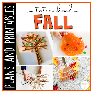 Tot School & Toddler Curriculum Made Easy! This Tot School: Fall resource has everything you need for a week packed full of fall themed fun and learning. Weekly plans, materials, printables and goals for pre-academic, fine motor, and gross motor skills practice, along with snack ideas, and sensory bin plans are all included in this download!