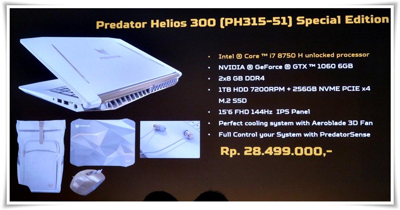 Harga laptop Predator Helios 300 Special Edition