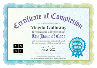 an hour of code certificate