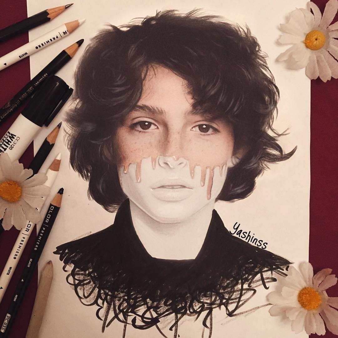 04-Finn-Wolfhard-Vlad-Yashin-Realistic-Color-Pencil-Portraits-of-Celebrities-www-designstack-co