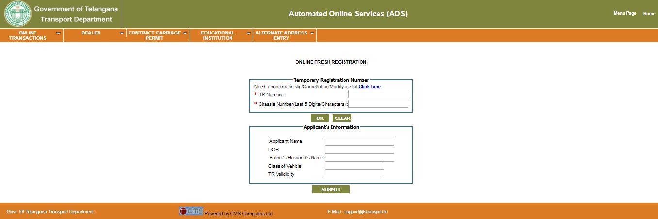 Telangana Road Transport Vehicle Registration
