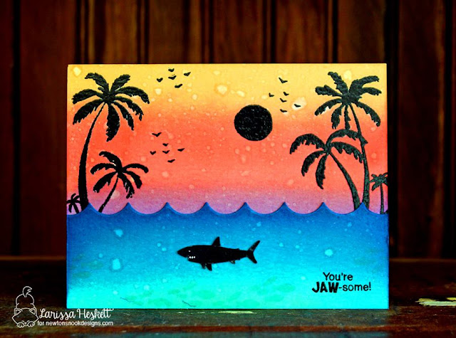 Sunset Shark Card by Larissa Heskett   | Shark Bites and Paradise Palms stamp sets by Newton's Nook Designs #newtonsnook