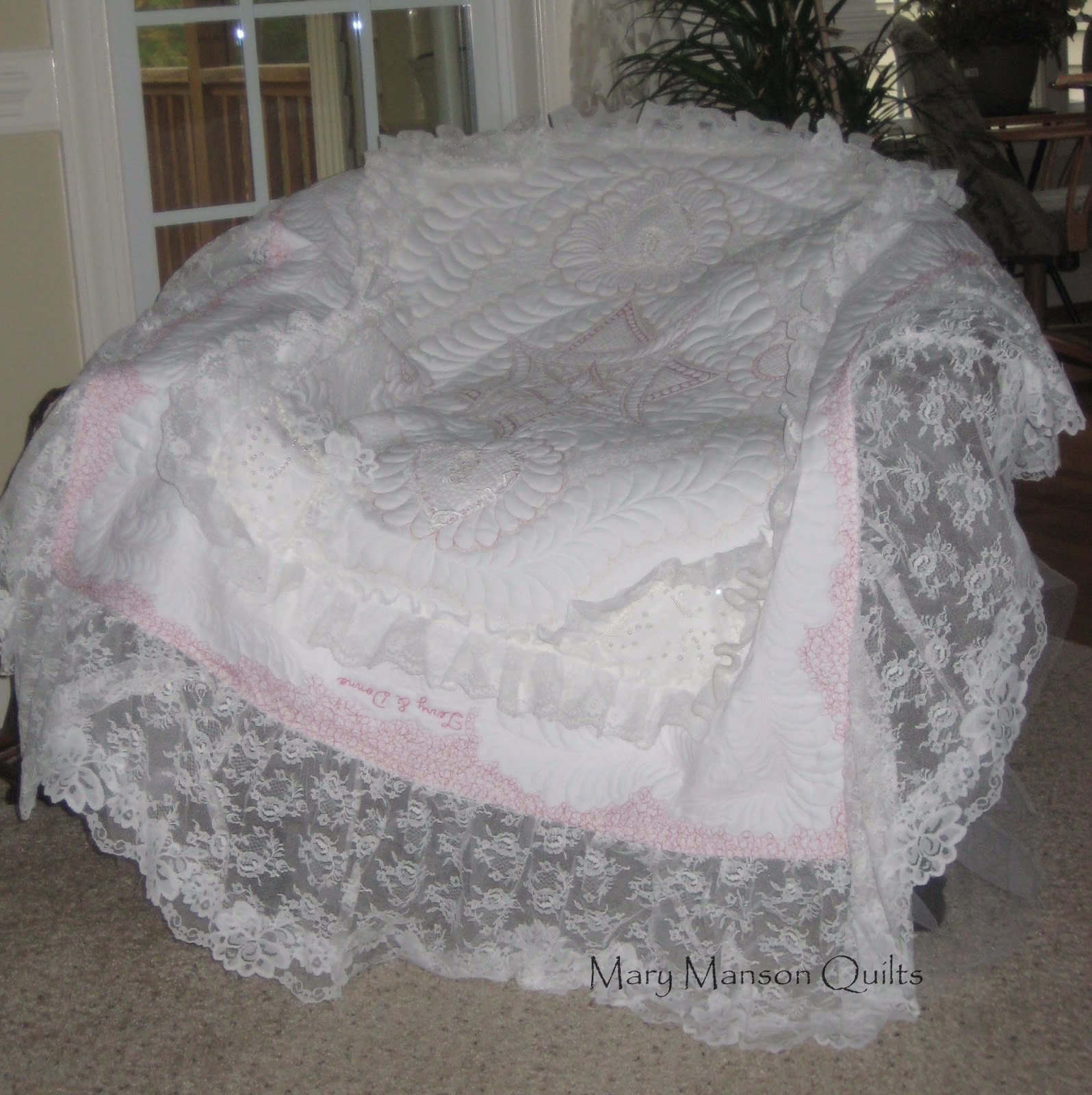 Mary Manson Quilts Wedding Dress Quilt Finished