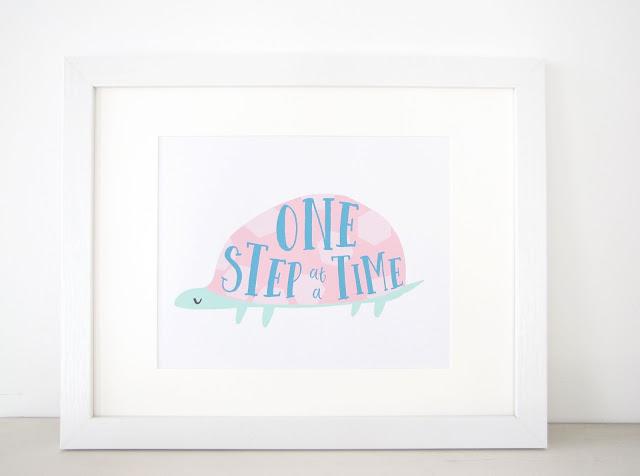Motivational Digital Download Print, One Step at a Time tortoise art, Printable Instant Download, Kids Room Classroom Office Decor, Inspirational Animal Illustration Wall Art athenaandeugenia