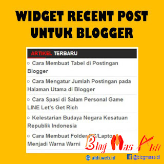 Widget Recent Post untuk Blogger