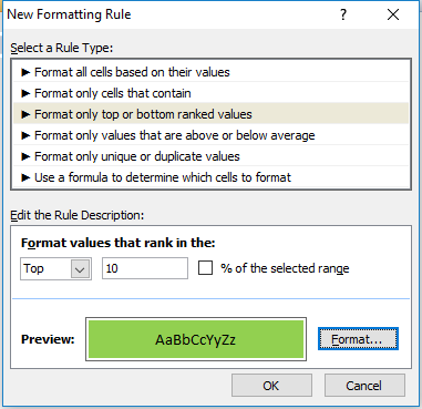 conditional formatting top ranked values