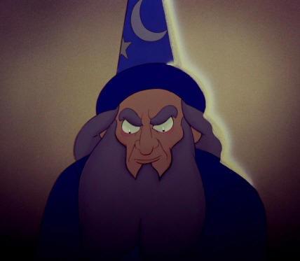 Sorceror in Sorceror's Apprentice sequence Fantasia 2000 1999 animatedfilmreviews.filminspector.com