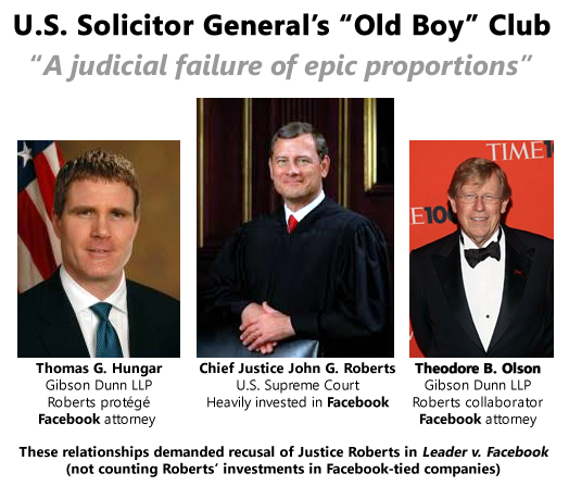 Justice Roberts is conflicted in Leader v. Facebook by his relationships with Thomas G. Hungar and Theodore B. Olson of the law firm Gibson Dunn LLP