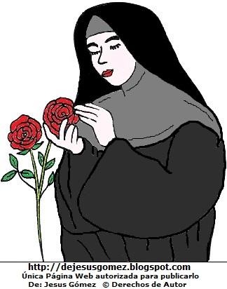 Imagen de Santa Rosa de Lima con bellas rosas por Jesus Gómez
