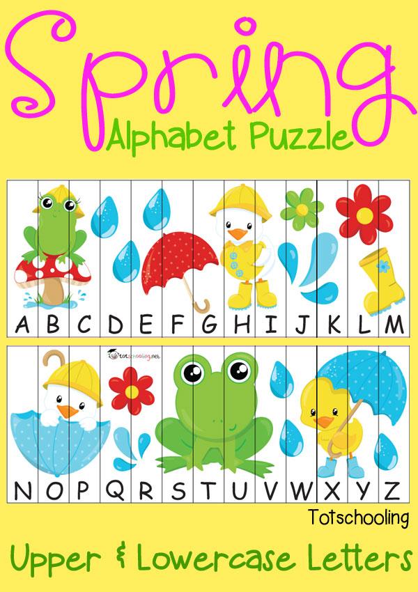 Free Spring Alphabet Puzzle | Totschooling - Toddler, Preschool ...