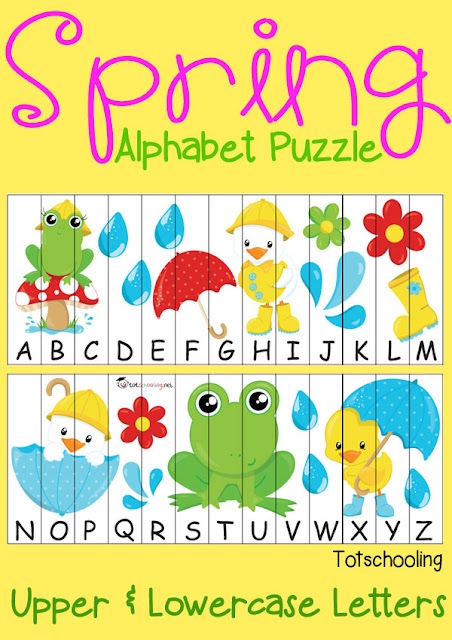 FREE printable Spring themed Alphabet sequence puzzle with uppercase and lowercase letters.
