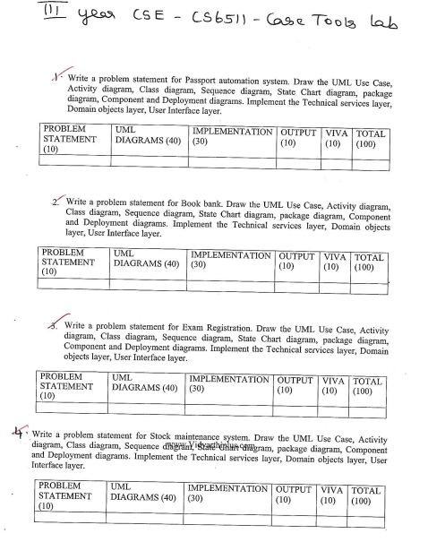 Anna University CS6513 Case Tools Lab Exam Question Papers