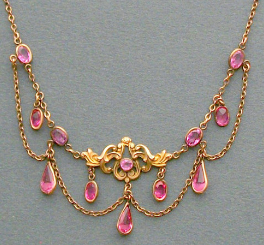 Antique Art Nouveau Jewelry Necklace. Pink. Festoon. Via Diamonds in the Library.
