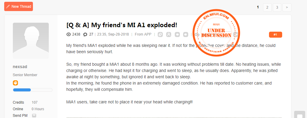 Xiaomi Smartphone Mi A1 Explode details