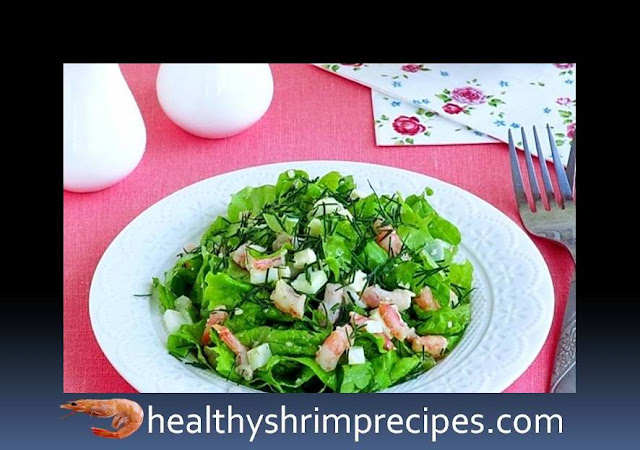 Healthy green salad with shrimp recipe
