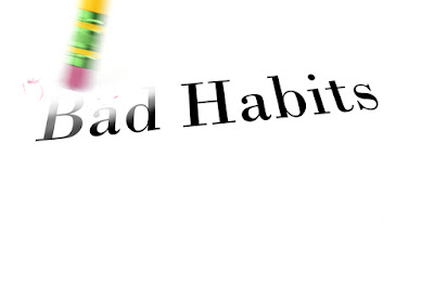 A pencil eraser is starting to erase the words: Bad Habits