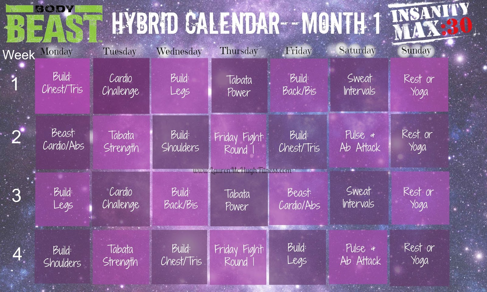 Insanity Max 30 Workout Calendar Month 2