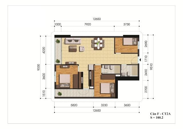 Mặt bằng căn hộ F - CT2A chung cư Gelexia Riverside