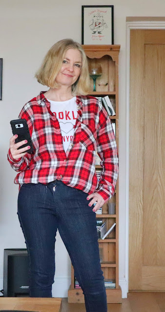 image showing plaid blouse outfit