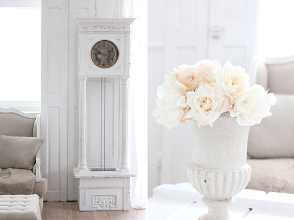 How fabulous is this chalk painted clock and the big beautiful Urn full of fluffy roses! Oh my! A glorious looking wooden shabby chic bench