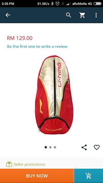 beg badminton li-ning, 5 jenis barang yang patut di beli di lazada 2017, 5 barang diimpikan di lazada,