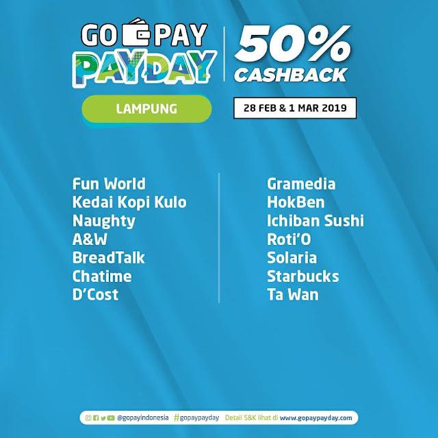 #GOPAY - #Promo Cashback 50% PAYDAY di 14 Kota Besar (s.d 01 Maret 2019)