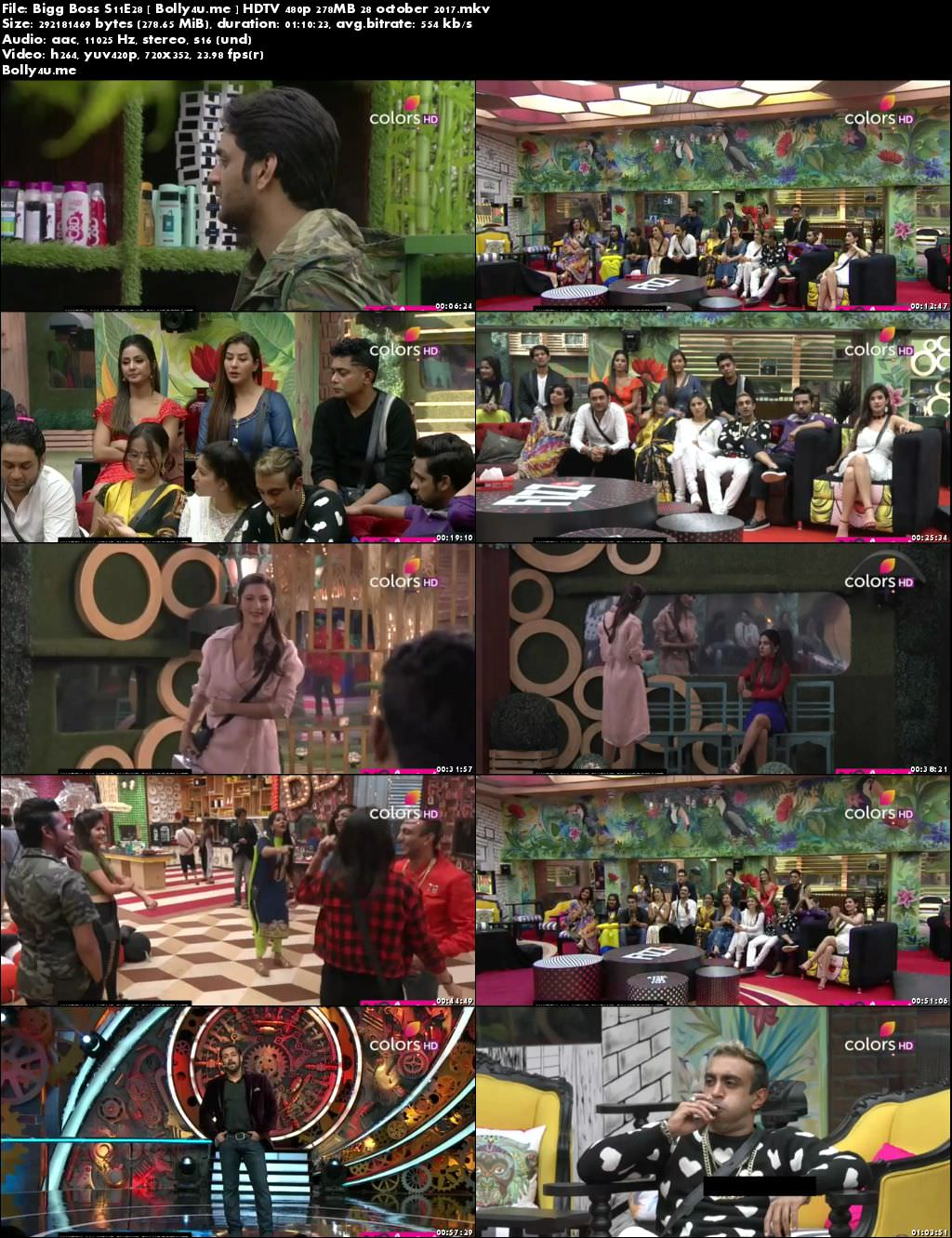 Bigg Boss S11E28 HDTV 480p 250MB 28 October 2017 Download