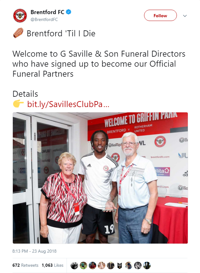 Brentford have sealed the commercial partnership with G Saville & Son Funeral Directors