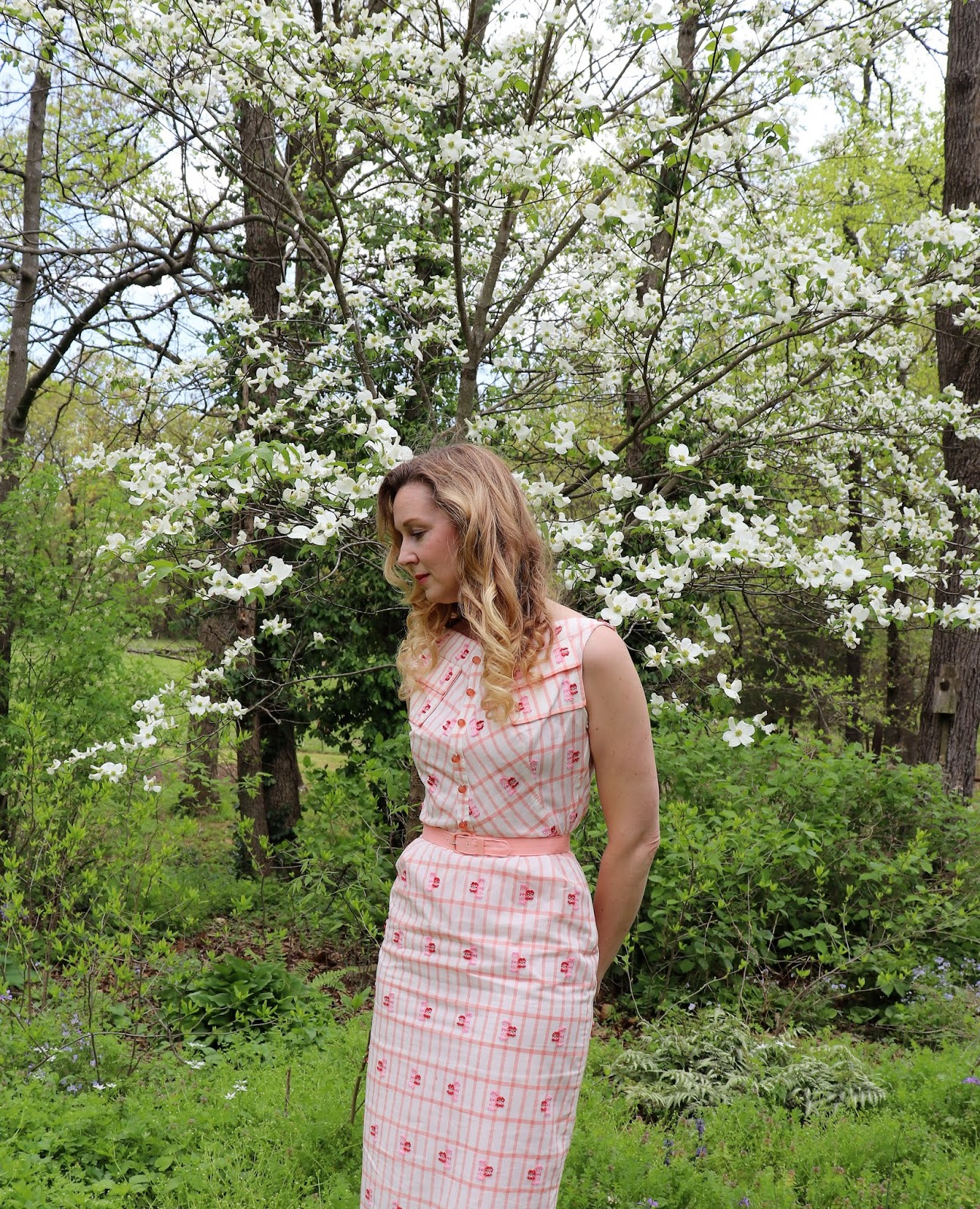 1950\u2019s Coral Sheath Dress
