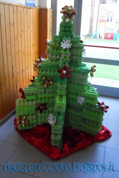 Dada pasticciona albero di natale con materiali poveri for Addobbi per la classe natale