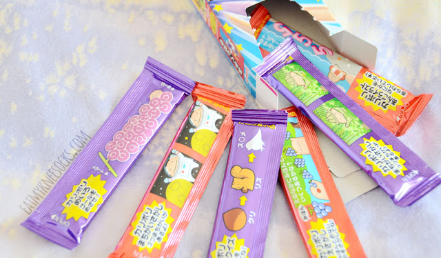A review of the March 2016 Japan Candy Box sweets and snacks subscription package, containing treats from Meiji, Kabaya, Hi-Chew, Peko x Sanrio, Calbee, Kasugai and more! - Eat My Knee Socks / Mimchikimchi