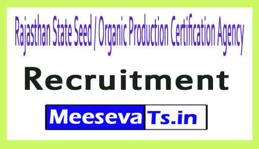 Rajasthan State Seed / Organic Production Certification Agency RSSOPCA Recruitment