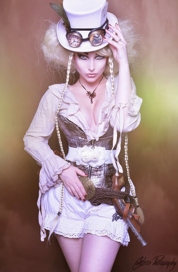 steampunk woman in white with top hat, goggles, shorts, gun