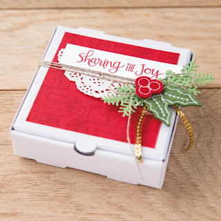 Stampin' Up! Ready for Christmas ~ Quilted Christmas ~ Stitched Felt pizza box gift idea ~ 2017 Holiday Catalog ~ www.juliedavison.com