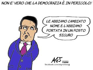democrazia, renzi, vignetta, satira