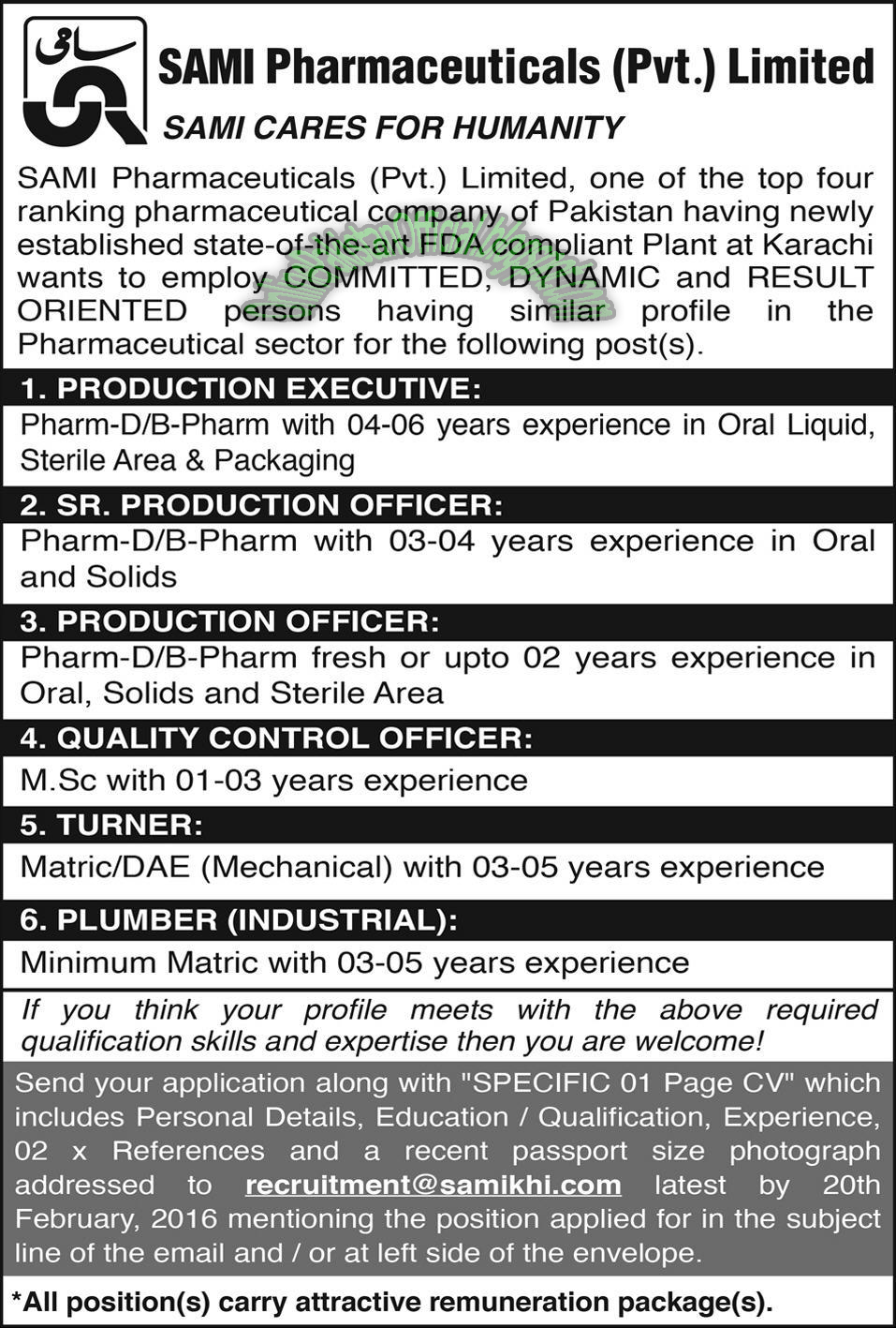 Jobs in Sami Pharmaceuticals Jobs in karachi