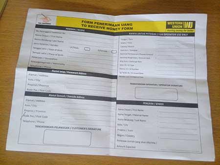 Formulir Baru Western Union Penerima Uang