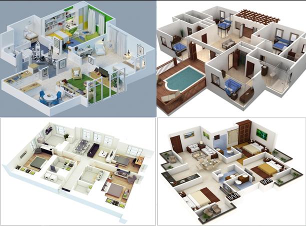 Denah Rumah Minimalis Modern Gambar 3D