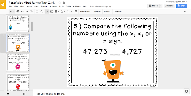 Place Value Digital Task Cards for Google Classroom
