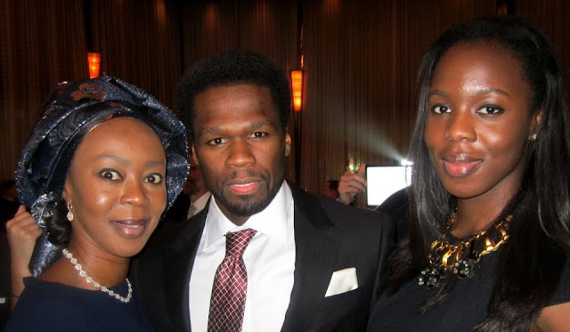 Wife of Nigerian Senate President, Bukola Saraki Spotted With World Music Star 50 Cent.
