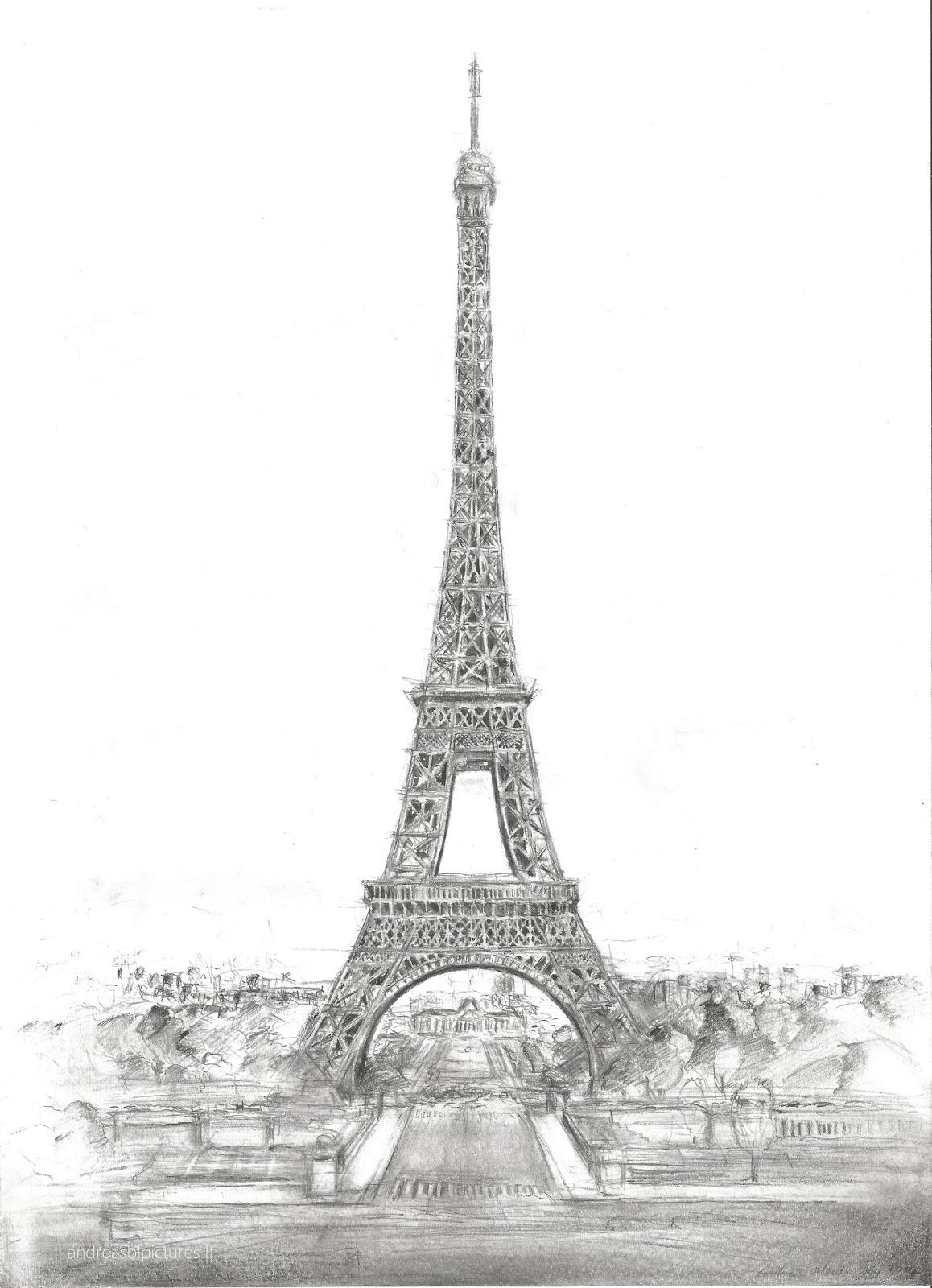 Dessin de tour eiffel de Paris, Eiffelturm Paris gezeichnet Bleistift
