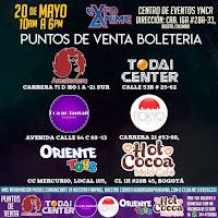 Puntos de venta EXPO ANIME Bogotá 2018
