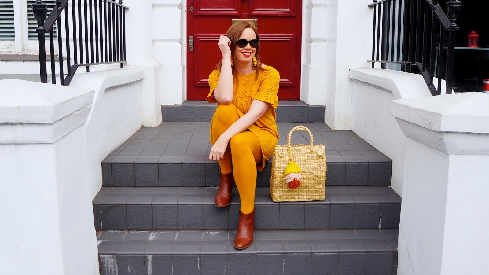 Mustard Broderie Dress, Mustard Tights, Straw Bag and brown boots