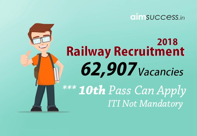 Railway Recruitment 2018: 62,907 Posts - ITI Not mandatory, 10th pass can apply