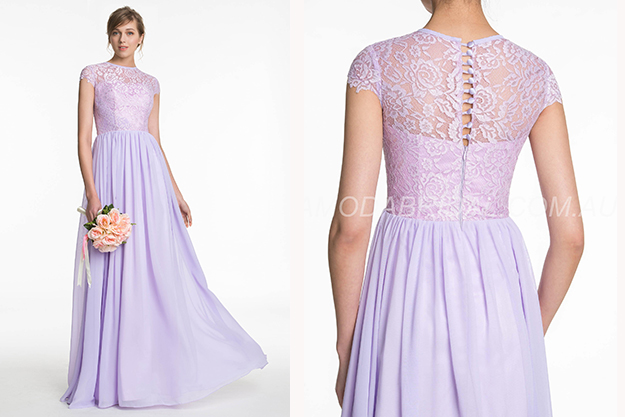 Classic & Timeless Short Sleeves Lace Button Dress Purple