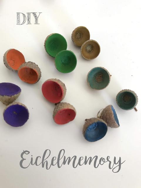 DIY Eichelmemory Basteln mit Eicheln Herbstfunde mit Kindern basteln Jules kleines Freudenhaus