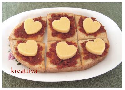 maxi bruschetta con cuore polenta